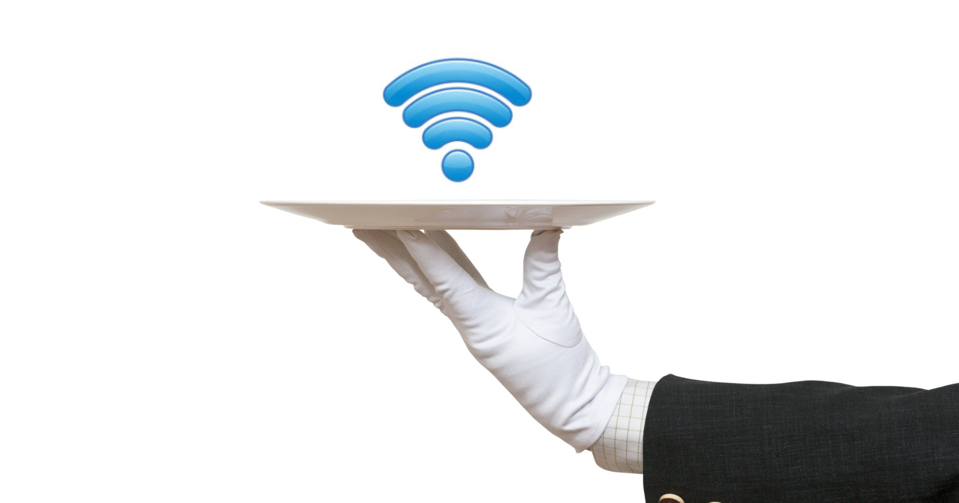 hand holding plate with wifi logo